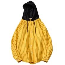 Harajuku Loose Hooded Blouse Vertical Striped Shirt Blouse Women/Man Spring Autumn Fashion Outwear Red Black Yellow Hoody Blouse frill trim vertical striped cherry print blouse