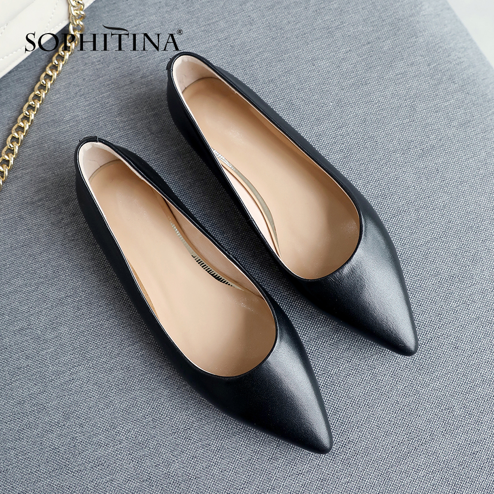 SOPHITINA New Stylish Flats Ladies Genuine Leather Square Heel Sexy Pointed Toe Low Heel Shoes Casual Shallow Women Flats SO215