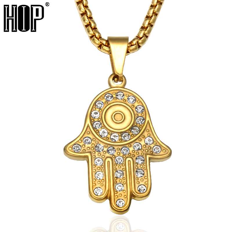 HIP Hop Bling Ice Out Stainless Steel Hamsa Hand for Men Women Necklace  Crystal Fatima Palm Pendants Necklaces ladies Jewelry-in Pendant Necklaces  from ... fa3533028