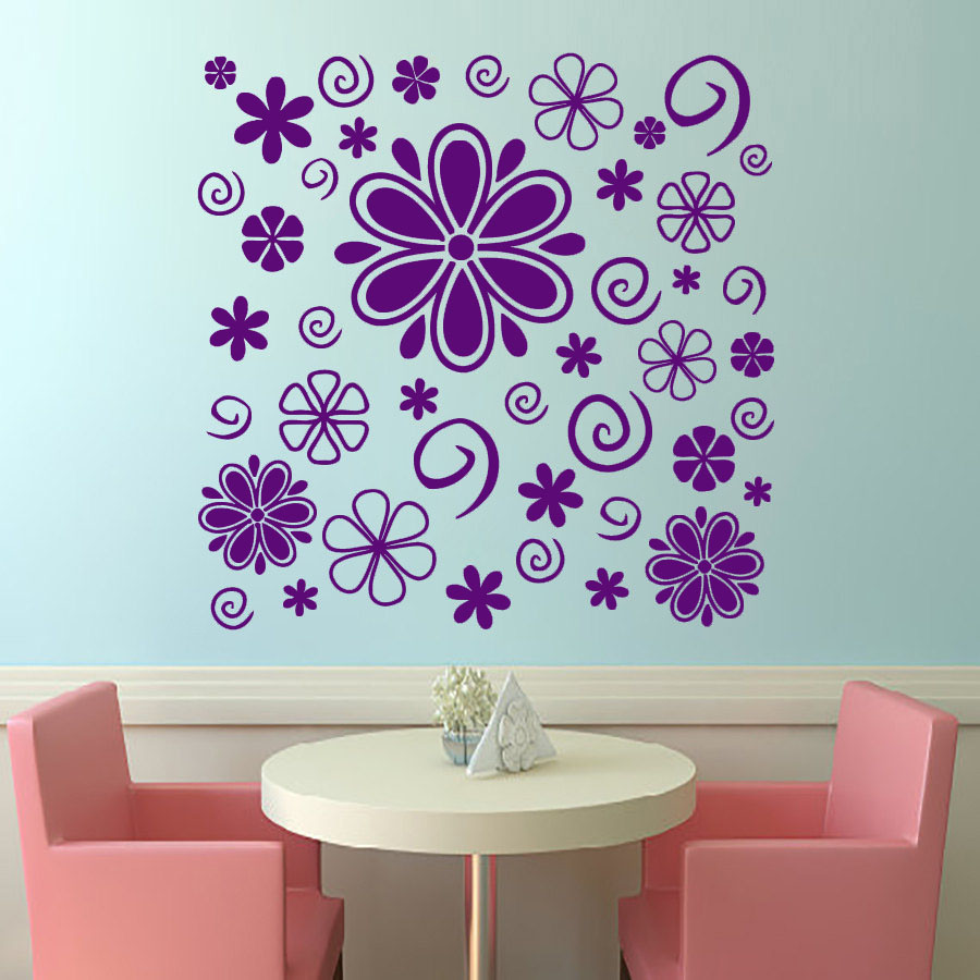 Purple Pollen Removable Wall Art Decal Sticker Diy Home: DCTOP DIY Shape Wall Decal Home Decor Vinyl Removable