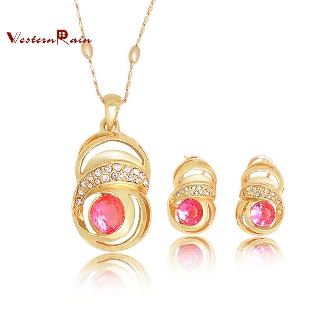 362dbdc87549 Moda Joyas Aretes Collar de Diamantes De Oro Italiano Custume Joyas de  Color Rosa Verde