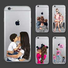 Lovely Boys Girls Mom Baby Princess Transparent Phone Case For