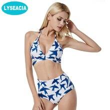 Фотография LYSEACIA High Waist Bikinis Set Print Swimsuits Vintage Bikini Cross Bandage Bathing Suit Halter Neck Swimwear Women Beach Wear