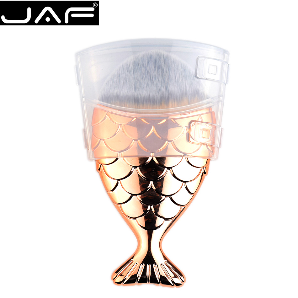 Mermaid Makeup Liquid Foundation Brush - Single Synthetic Rose Gold Fish Cream Make Up Brush
