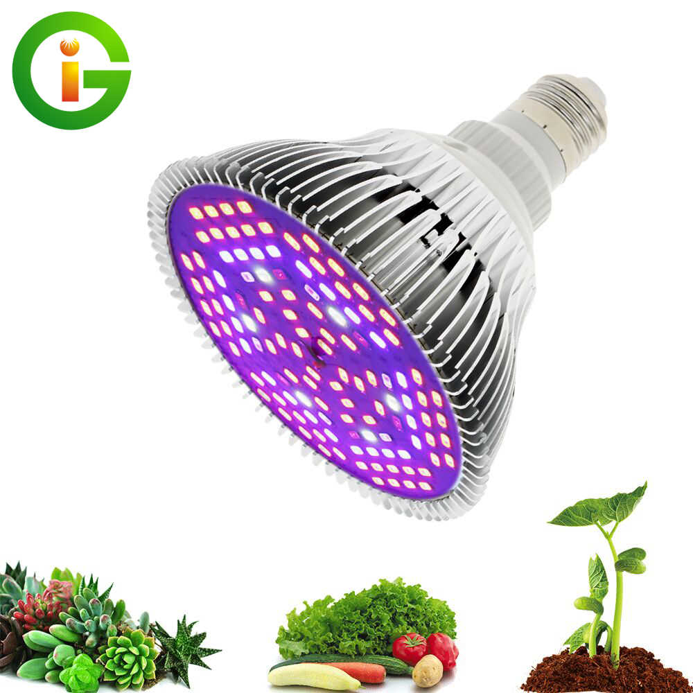 LED Grow Light Full Spectrum 10W/ 30W/ 50W/ 80W E27 UV IR LED Growing Bulb for Hydroponics Flowers Plants LED Growth Lamp