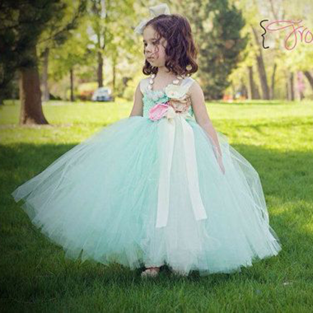 Aliexpresscom Comprar Menta Verde Flores Las Niñas Vestidos De Fiesta Concurso De Belleza Chicas Vestidos De Graduación Para Cumpleaños Boda Flores
