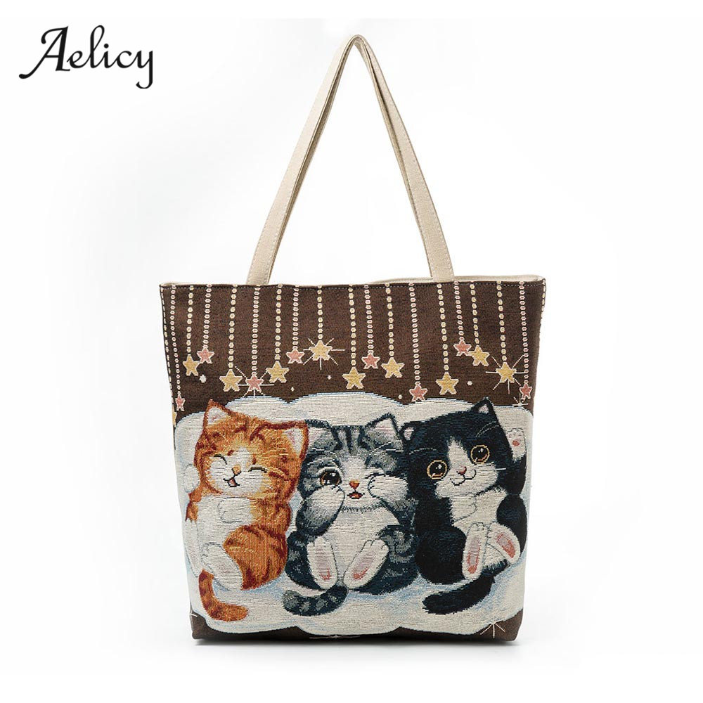 Women Canvas Cat Printed Canvas Tote Casual Beach Bags Women Shopping Bag Handbags Large Capacity Ladies Bolsas 0912