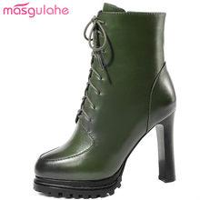 e963e0e5a Masgulahe plataforma botines cremallera super tacones altos botas de cuero  genuino estilo Reina lace up Otoño