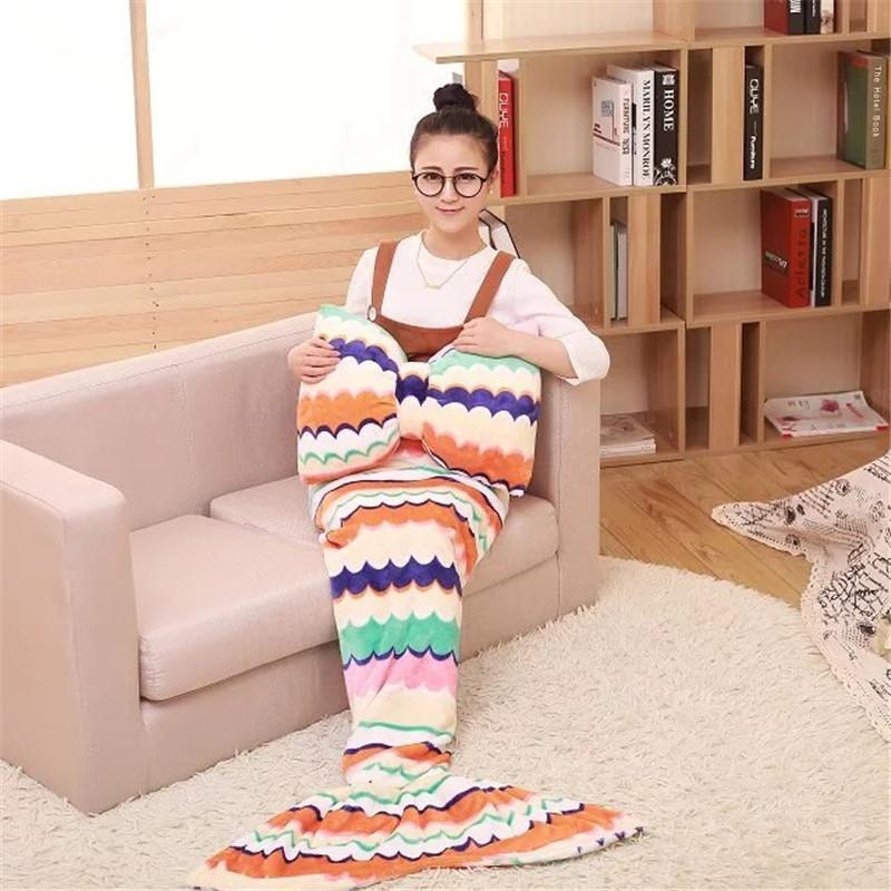 85*180cm Mermaid Tail Fleece Sofa TV Blanket with Pillow Adult Bed Wrap Soft Sleeping Bag Gift for Girfriend Wife Free Shipping