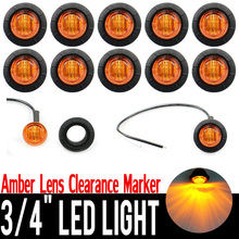 10Pcs Amber Bullet Side Marker Light 3 Leds 12V Universal Truck Trailer SUV Pickups Clearance Lamp Round with 25cm wires Grommet
