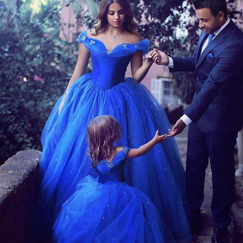 2018 summer Princess Cinderella dress Girls baby Ball Gown Party dresses  children clothe princess Blue long Pearls dress wedding-in Dresses from  Mother ... f3176887abee