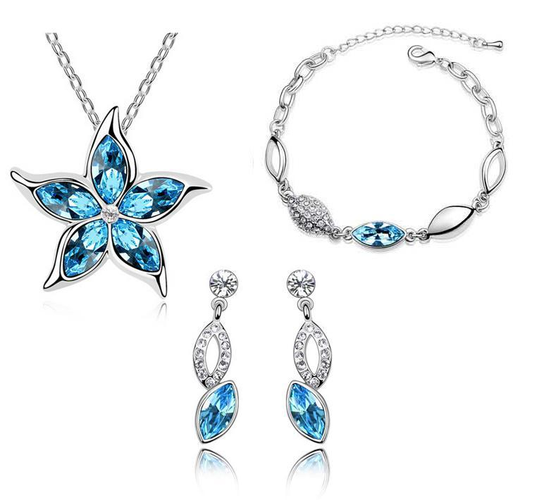 Fashion Jewelry new Five leaves and flowers Austrian Crystal Earrings necklaceS Bracelets sets CS121B16 ABC