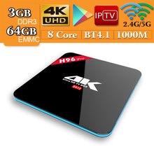 H96 Pro Android CAIXA de TV 7.1 gb 64 3 gb CAIXA Smart TV Amlogic Octa Núcleo S912 5g Wi-fi k BT4.0 H.265 Set top box 3 4 gb gb PK 32 X92