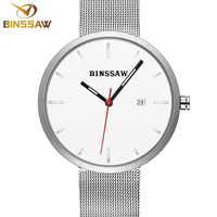 BINSSAW 2017 top luxury brand Gold lovers stainless steel mesh belt leather fashion lady quartz men and women fashion watches