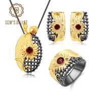 GEM'S BALLET 925 Sterling Silver Vintage Sun flower Jewelry Set 1.07Ct Natural Red Garnet Ring Earrings Pendant Sets For Women