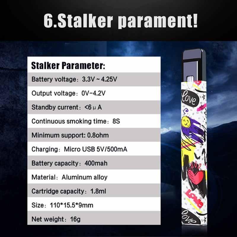 New Vapor Storm Stalker Starter Kit 400mah Battery 1 8ml Cartridge  Refillable Electronic Cigarette Pen Kit Pod Mod Vape System