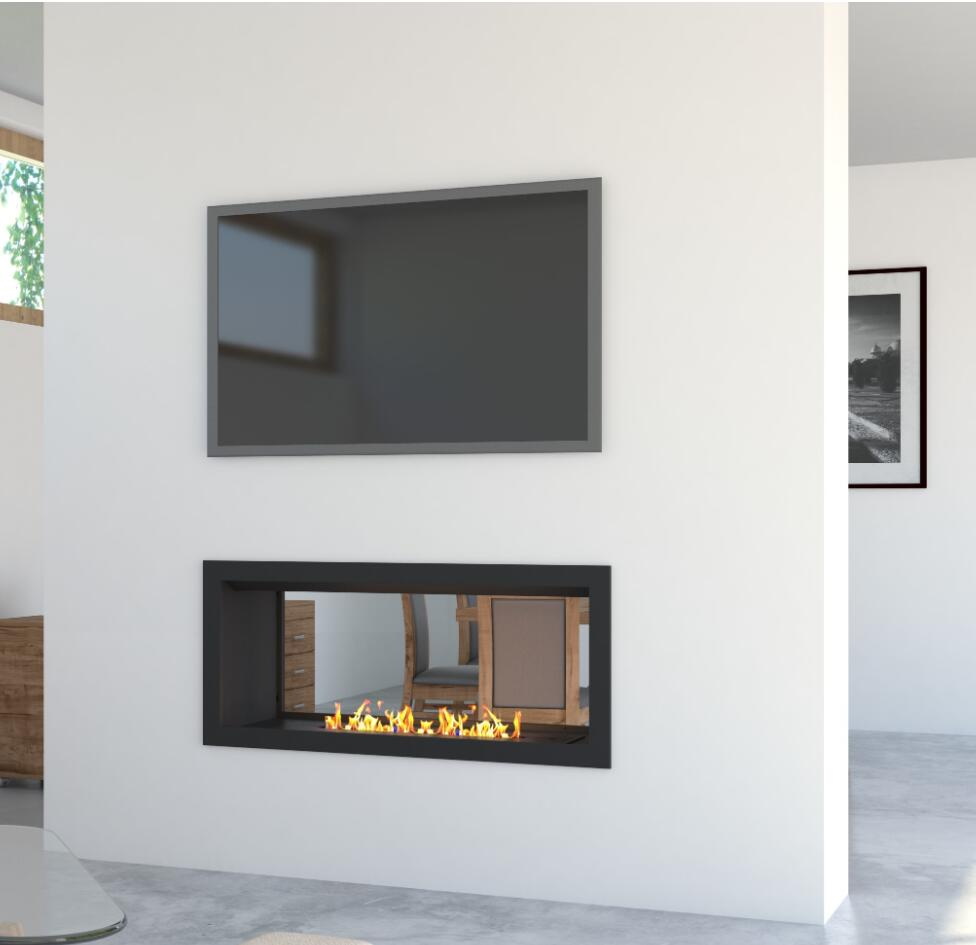 Inno Living Fire  36 Inch Black Panel Bioethanol Real Flame Fireplace