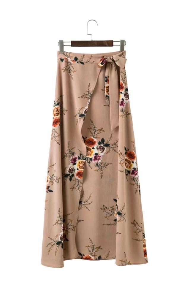 c8d432235a Verano 2017 impresión floral faldas largas mujeres verano elegante playa  Maxi falda Boho alta cintura asimétrica split faldas largas en Faldas de La  ropa de ...