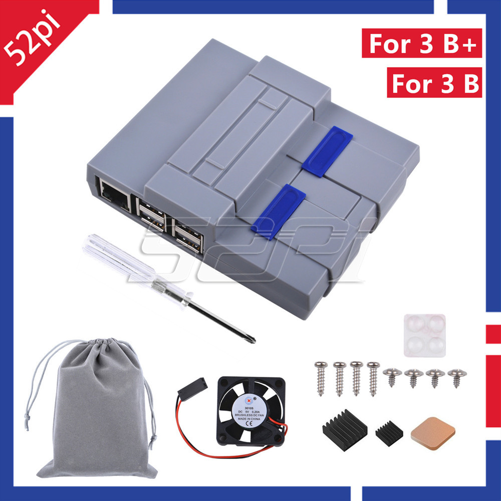 52Pi NES Style Case Enclosure SNES Case Kit With Cooling Fan Heatsinks For Raspberry Pi 3 Model B Plus / 3 B / 2 B / SNESPi