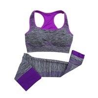 2 Stücke Frauen Yoga Sets Rennen Fitness Nahtlose Sport-Bh Weste + Hosen Leggings Set Gymnastik Workout Sport Tragen