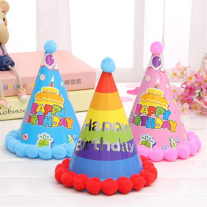 colorido feliz cumpleaos sombreros de fiesta diy hecha a mano linda carta de amor casquillo del beb ao nuevo decoracin boy g