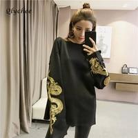 Spring Autumn Harajuku Long Sleeve Dragon Embroidery Sweatshirts Women Tops Plus Size Loose Casual Sweatshirts