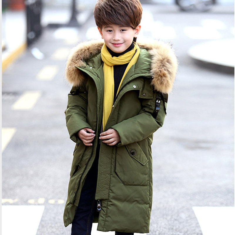 fur hooded duck down winter jacket for boy green black red blue warm thick long winter jackets boys outwears children clothing russia winter boys girls down jacket boy girl warm thick duck down