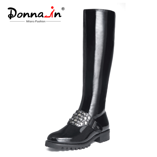 Donna-in/Сапоги до колена; женские сапоги на платформе из лакированной коровьей кожи; женские ботинки с круглым носком на среднем каблуке, с зак...