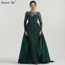 SERENE HILL Dubai Luxury Green Evening Dresses Long Sleeves