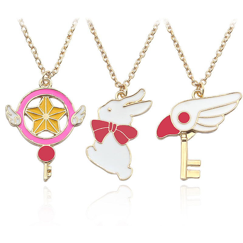 Japan Anime Cartoon Variety Sakura Necklace Hänge Magic Card Girl Sakura Star Key Bird Bird Rabbit Necklaces Female Women