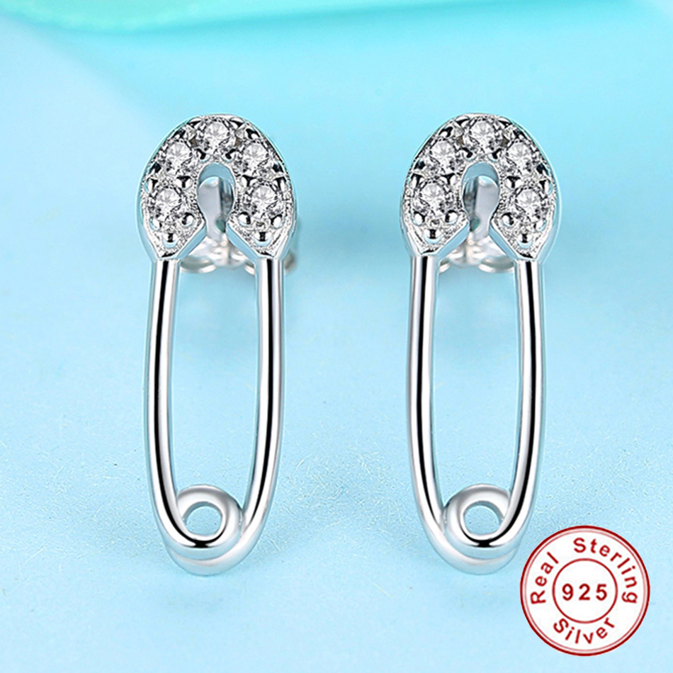 2019 Minimalism Style 925 Sterling Silver Safety Pin Earrings Clear CZ Crystal Broach Stud Earrings For Women Fashion Jewelry