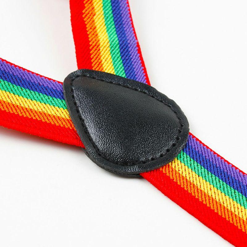 Colorful Striped Strap Rainbow Bib Pants Straps Clip Adult Unisex Suspenders Buckle Adjustable Shoulder Belt in Men 39 s Belts from Apparel Accessories