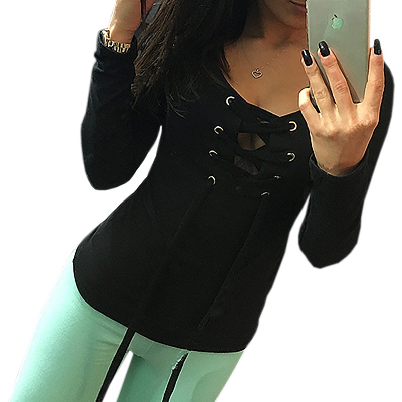 Women's Clothing ... Blouses & Shirts ... 32728121275 ... 3 ... Casual Bottoming Shirt Autumn Long Sleeve Tops Lace Up Ladies  Shirts Fashion Slim Bandage Shirts Blusas Women Tops LX068 ...
