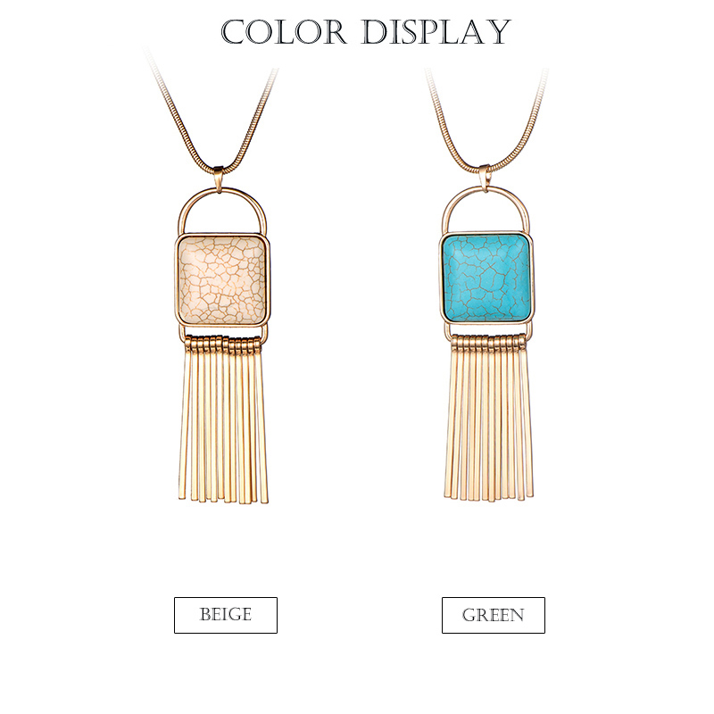 2018 New Fashion Nature Stone Pendant Long Chain Necklace Gold Silver Color Bar Tassel Necklace For Women Jewelry dropshipping 2