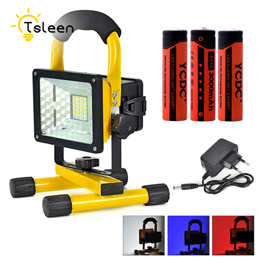 TSLEEN 1PC Rechargeable LED Spotlight 10W Floodlight IP65 Waterproof With 3X18650 Battery AC 220V Refletor LED Outdoor Lighting