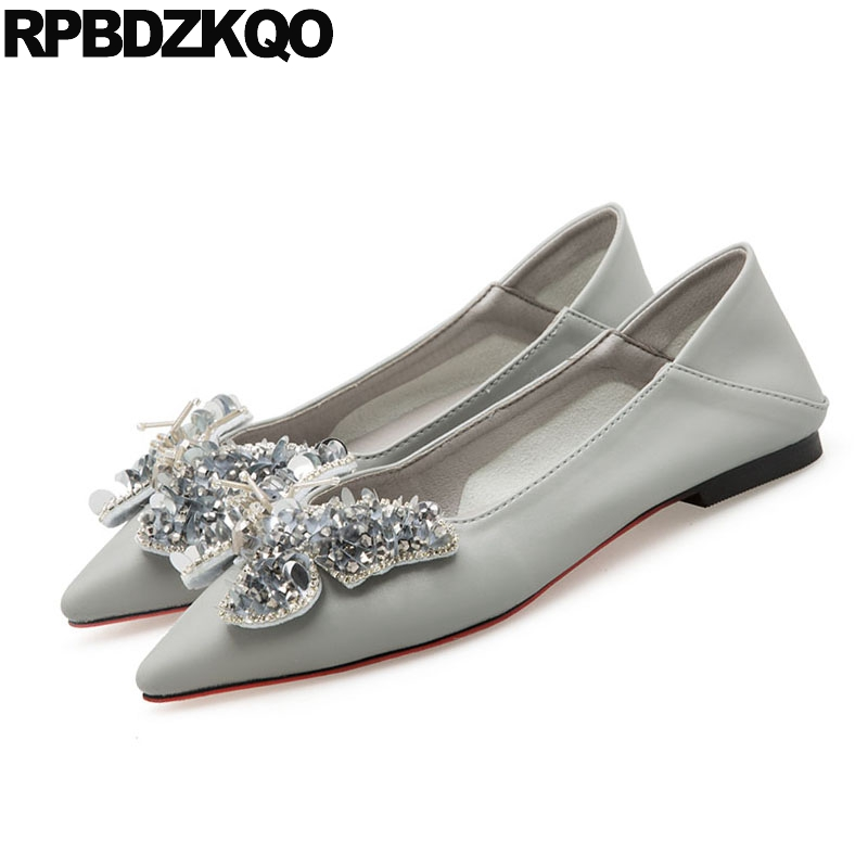 Women Mules Wedding Gray Pointy Designer Slippers Rhinestone Autumn Spring  Bling Sequins Single Shoes Flats Crystal Butterfly-in Women s Flats from Shoes  on ... 545bd0f24eed