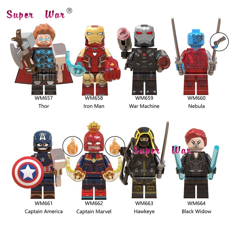 10Set Marvel Comics Series 2 IronMan Black Widow Thor Hawkeye Captain America War Machine Nebula Model