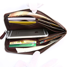 TERSE_Large capacity men business long wallet with phone pocket in 5 colors luxury solid clutch bag engraving service