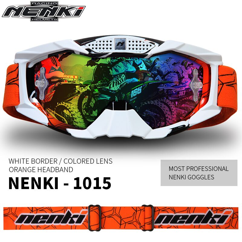 NENKI Motocross Off-Road ATV Dirt Bike MX Downhill DH Goggles Ski Snowboard Glasses Motorcycle Racing Eyewear Replaceable Lens