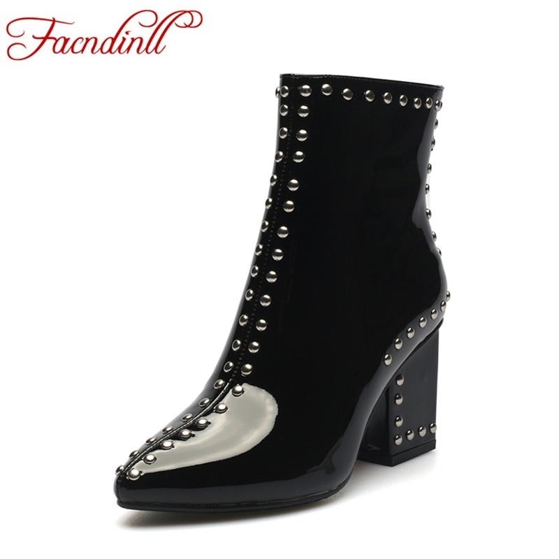 FACNDINLL fashion women ankle boots new 2017 autumn winter thick high heels pointed toe rivets zipper shoes woman riding boots new brand spring autumn women pumps shoes luxury high heels pointed toe fashion rivets ankle boots women shoes free shipping