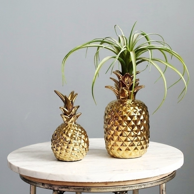 Ceramic Golden Pineapple Ornaments Tropical Style Pineapple Home Decoration Ornaments
