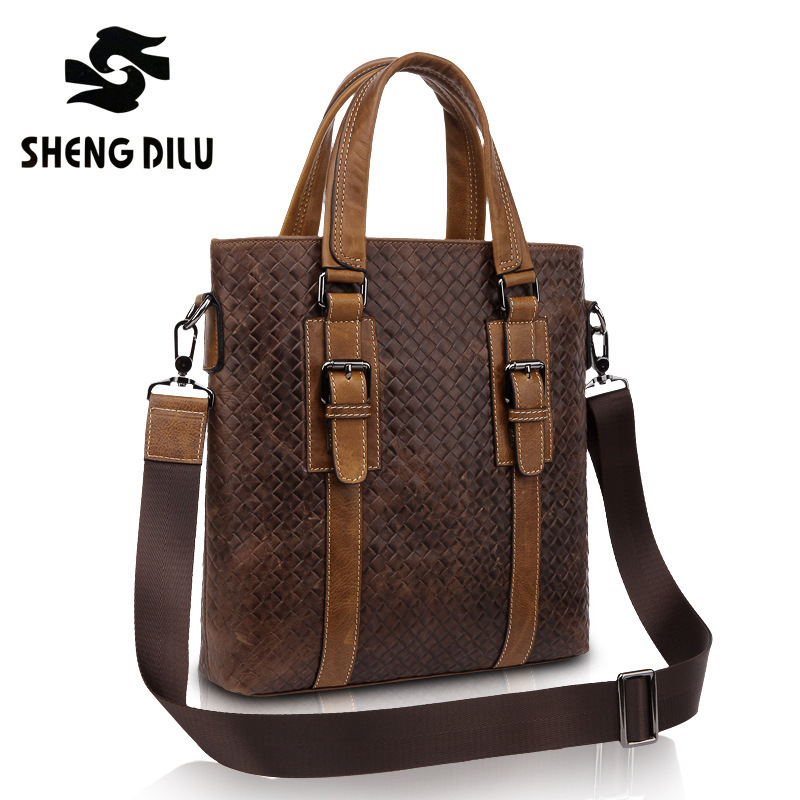 New 2016 HIGH QUALITY Woven Men Handbags,Top Genuine Leather Men Bag,Fashion Men Messenger Bag,Briefcases, Vintage Bags, Boslas 2016 new men fashion