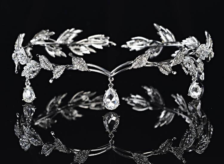 Remedios Elegant Leaf Design Wedding Crown Tiara Hair Jewelry Rhinestone Bridal Bridesmaid Headpiece Headband (3)