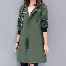 2016 Trench Coat For Women Female Fashion Slim Fit Green/Black Color Hooded Long Women Coat M L Size