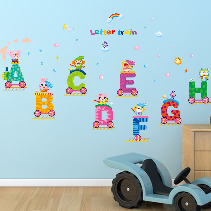 [SHIJUEHEZI] Removable English Letters Train Wall Sticker Alphabet DIY  Animal Wall Decals For Kids Rooms Kindergarten Decoration In Wall Stickers  From Home ...
