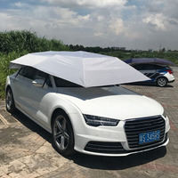 Half Automatic Awning Tent Car Cover Outdoor Waterproof Folded Portable Car Canopy Cover Anti UV Sun Shelter Car Roof Tent New