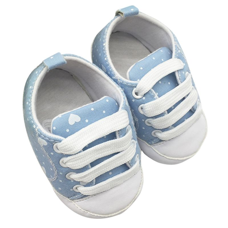 Kids Infant Baby Boys Girls Soft Soled Cotton Crib Shoes Laces Prewalkers