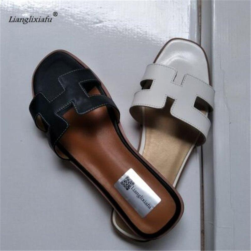 Llxf плюс: 34-42, 43 летние Zapatos черный или белый H женский натуральная кожа sandalias плоский каблук слово женские тапочки повседневная обувь