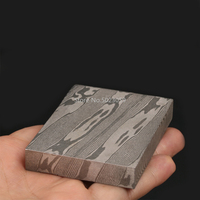 1pc Damascus Pattern Steel Twisted Pattern Flat Grinding Pickling Raw Material for DIY Belt Buckle, Watch, Hand Guard, Ball Head