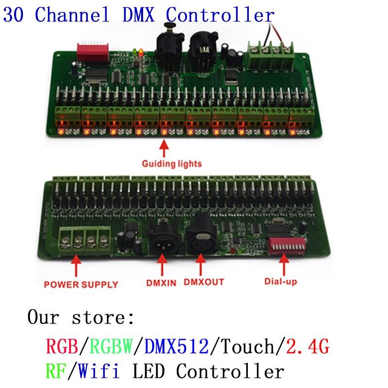 30 canal Facile DMX 512 led RGB Contrôleur DMX 512 Gradateur pour led bande/led modoule/lampe à led, DC9V-24V
